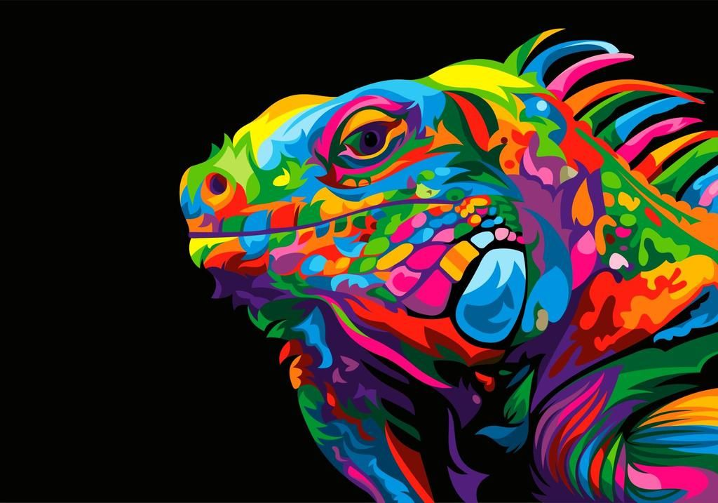 Iguana Colorful Vector Illustration by weercolor on DeviantArt