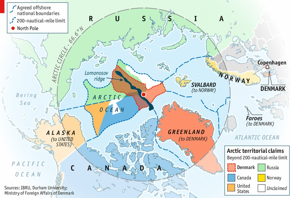 arctic territorial claims map Arctic Territorial Claims By The Economist Map Arctic Arctic arctic territorial claims map