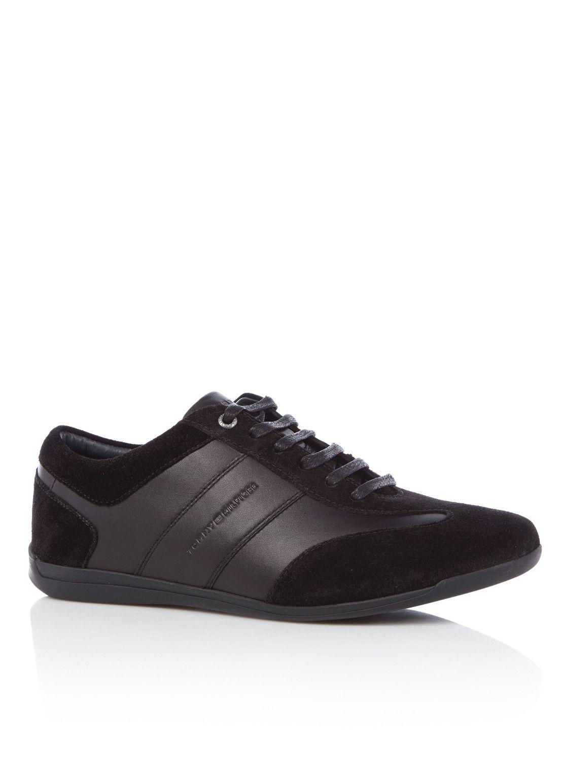 trendy Tommy Hilfiger  Sneaker van leer en suède (zwart)