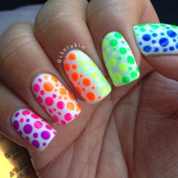 Cheerful nails, Club nails, Multi-color nails, Nails for club, Neon nails, Night nails, Nocturnal nails, Party nails
