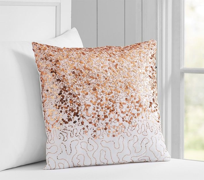 Rose Gold Decorative Pillow : Sweet and Shiny: Rose Gold is Here to Stay Gold pillows, Sequins and Rose gold