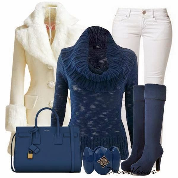 Cozy and Comfy Coat and Sweater High Heels and Jewelry