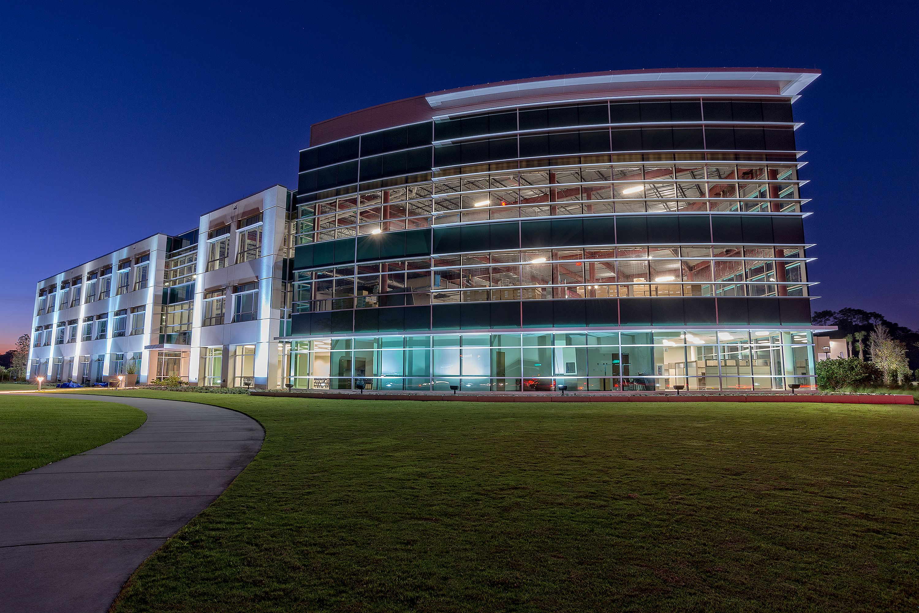 The Gateway Building at night in Lake Nona. Orlando