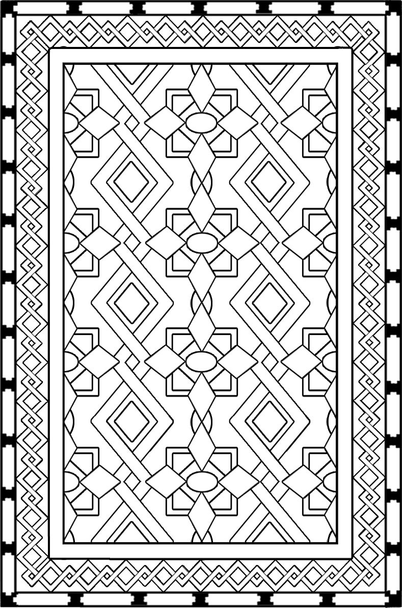 Iranian carpet coloring page download projects to try for Drawing of carpet design
