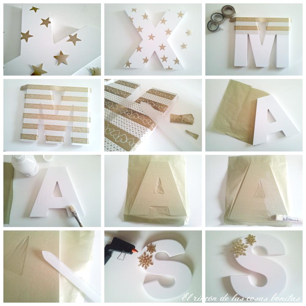 Letras de madera decoradas para navidad el rinc n de las - Letras de madera decoradas ...