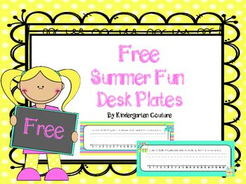 There are 4 choices of summer fun desk plates to choose from. All of the desk plates have the alphabet and a number line.   I hope you can use them if you are teaching this summer.  Check out free winter fun desk plates by clicking the link to my other store below.