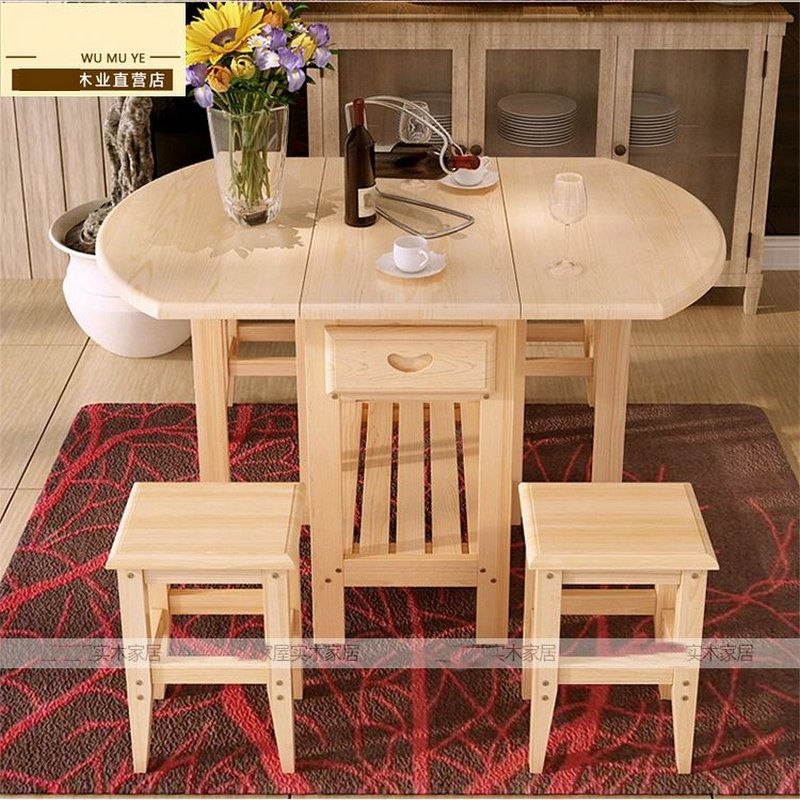Semi Circle Foldable Coffee Dining Table With Two Chairs No Drawers Pine Solid Wood Living Room Furniture Living Room Furniture Online Wood Furniture Living Room Dinning Tables Chairs