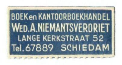 NL -Schiedam -Boek- en antoorboekhandel Wed. A. Niemantsverdriet -Lange Kerkstr 52 (collecttion : EEcollects)
