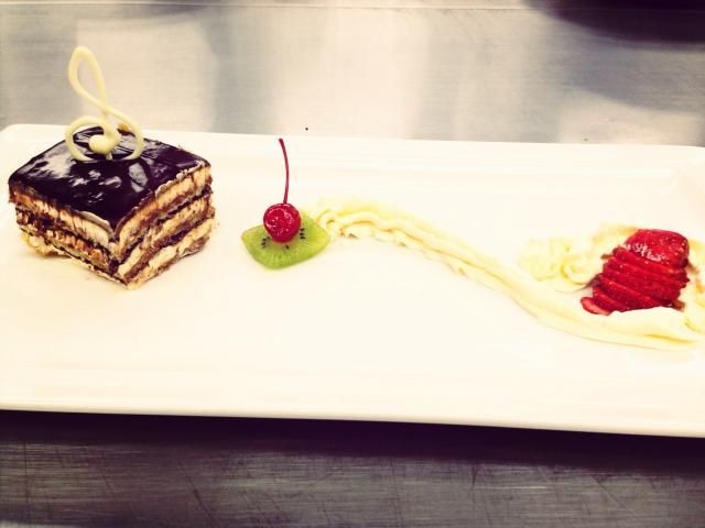 A variation of the classic opera cake, where the chocolate is replaced by espresso coffee. No worries, it is just as delicious.