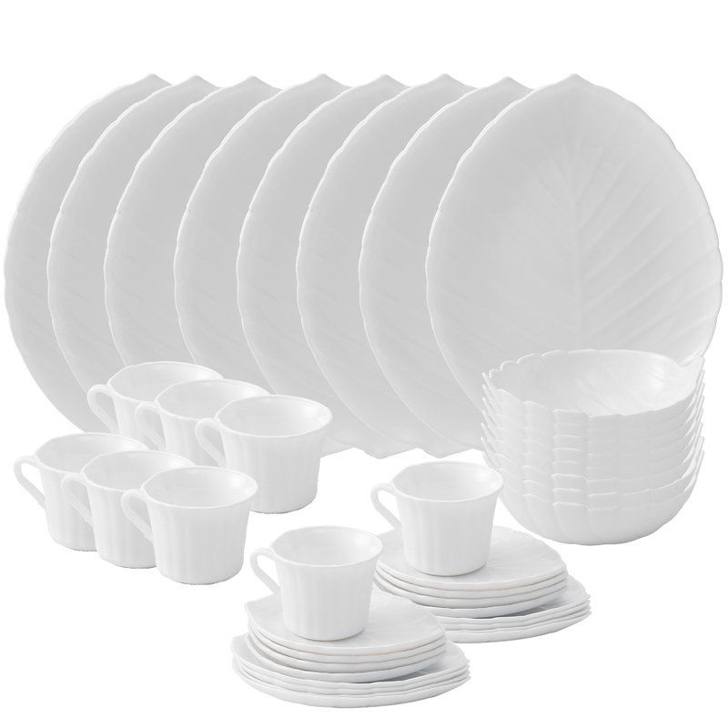 Vine Opal 40 Piece Glass Dinnerware Set Service For 8 Glass