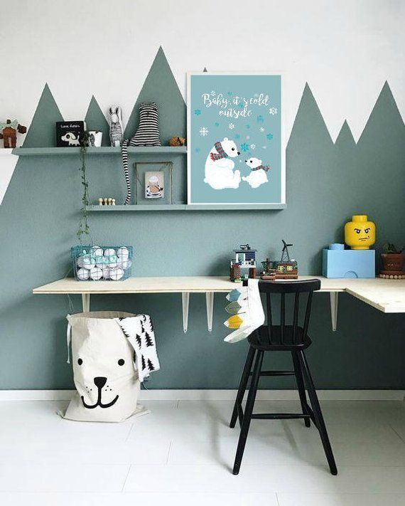 Suburbs Mama Nursery In Master Bedroom: Baby Is Cold Outside, Nursery Print, Mama Bear, Mommy And
