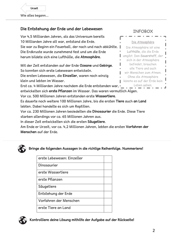 Die Entstehung der Erde und der Lebewesen – Unterrichtsmaterial im ...
