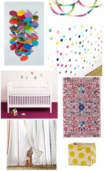Inspired by Fun Fetti fabric stickers from Pop & Lolli we designed a nursery that incorporates colorful shapes and textures for your new baby. #popandlolli #pinparty