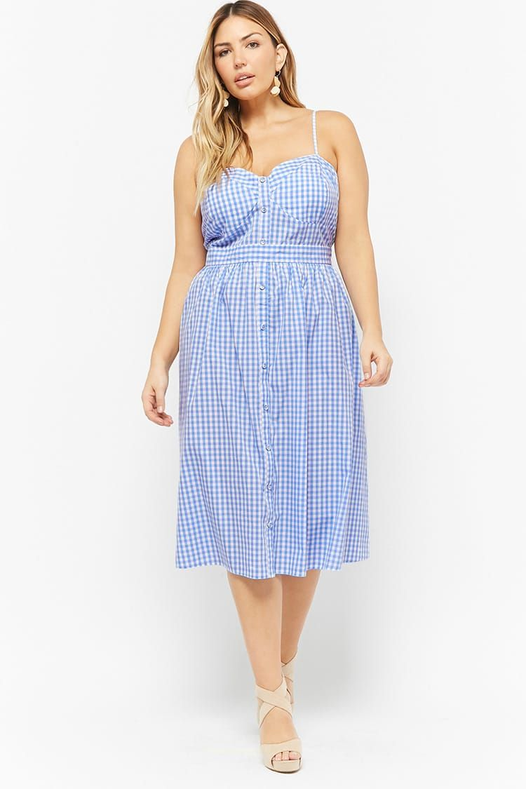 23242808f80 Product Name Plus Size Gingham Button-Front Cami Dress