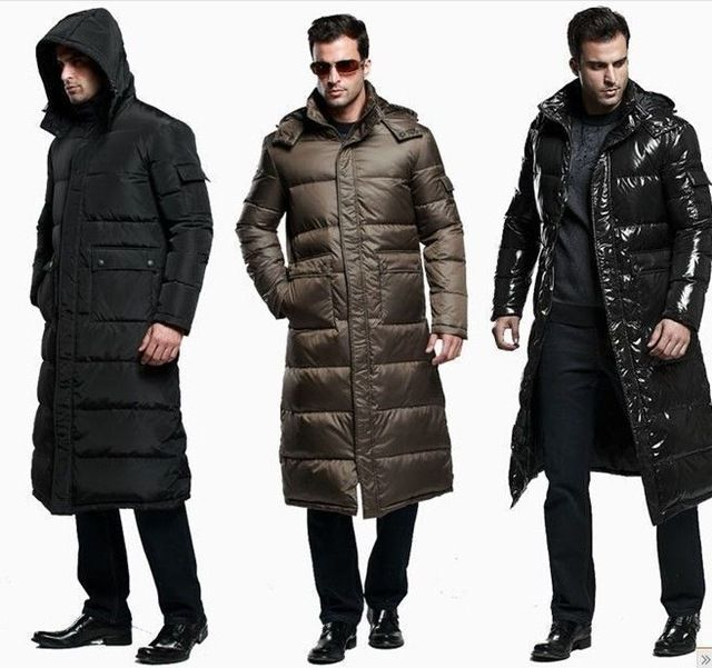 Details about Men's Full Length Duck Down Hooded Long Puffer