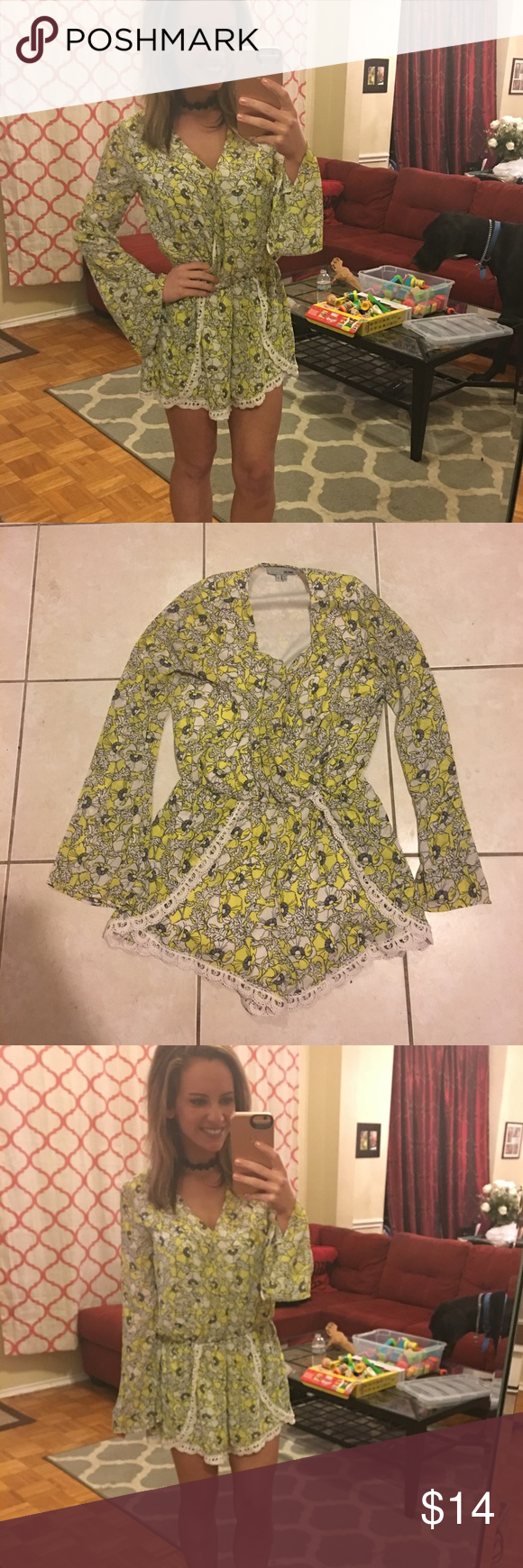 Boutique long sleeve beautiful romper Boutique long sleeve beautiful romper with super cute pattern. Been used once in excellent condition . Make  me an offer and I am willing to negotiate on price :) or bundle 2 items for 25% off! if you purchase an item and you are not satisfied , I will refund your purchase! So shop away :) Pants Jumpsuits & Rompers