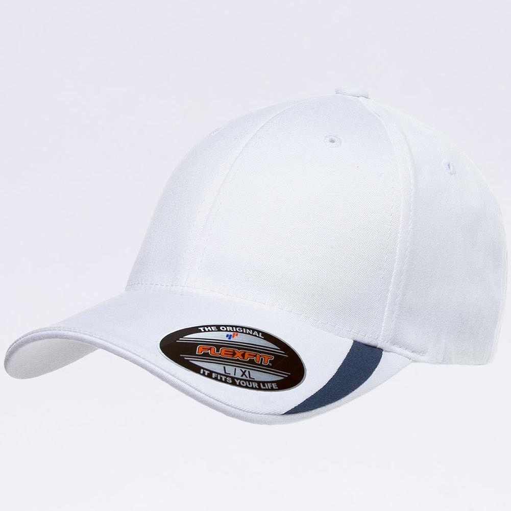 Wholesale Flexfit 5006 V-Flexfit Sweep Profiled Hat [White/Navy]