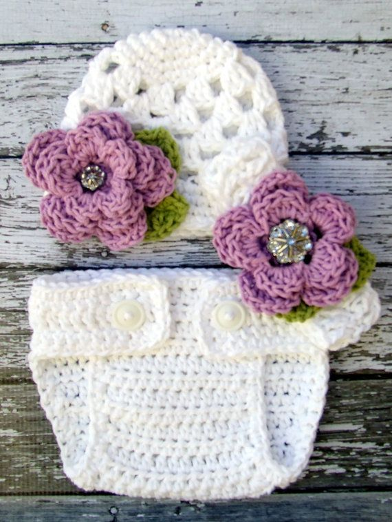 Sophia Flower Beanie and Diaper Cover set in White, Violet, and ...