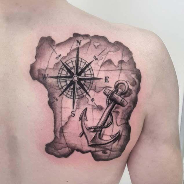 42 Friggin Amazing Compass Tattoos | Anchor tattoos ...