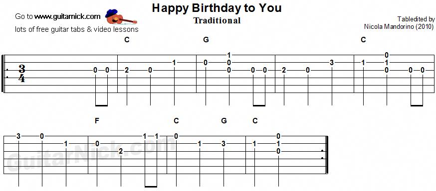 Happy Birthday To You guitar tab guitartablature