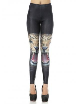 Handsome Leopard Print Color Patchwork Skinny Leggings for Woman