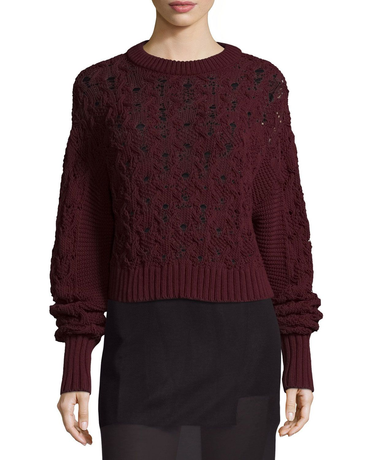Public School Seed-Stitched Cable-Knit Pullover Sweater, Burgundy ...