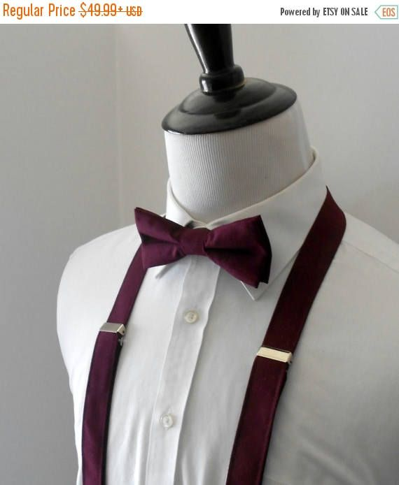 2e1b10901c3c SALE Burgundy Bowtie and Suspenders Set Men's Teen | Random ...