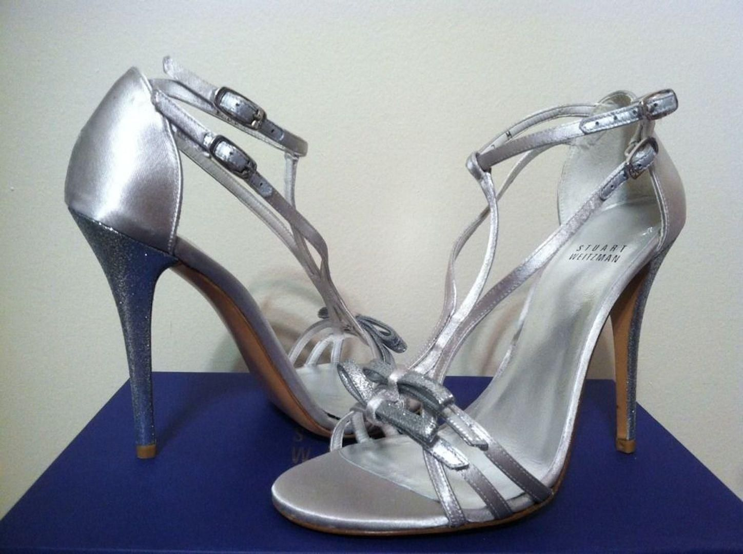 9c43f07dd33c3f Stuart Weitzman Bow Goes Up Women s Dressy Evening Strappy Heels 7 M Moonglow  Satin - Silver Sandals. Get the must-have sandals of this season!