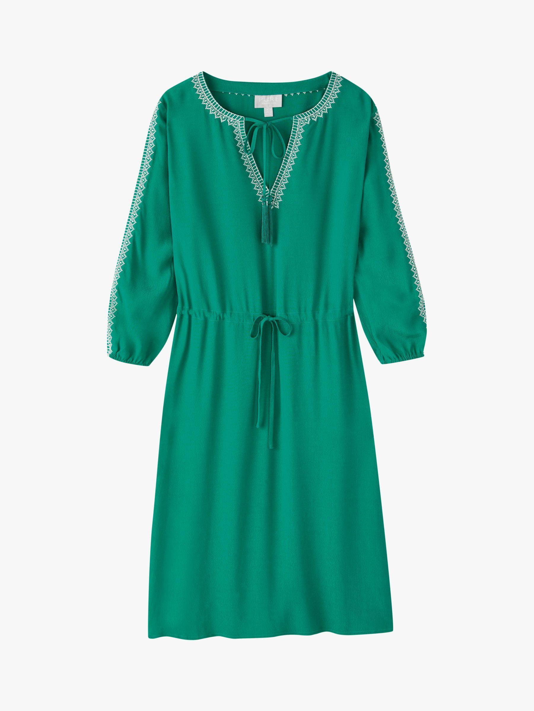 Pure Collection Open Tie Neck Dress, Sage Green #sagegreendress