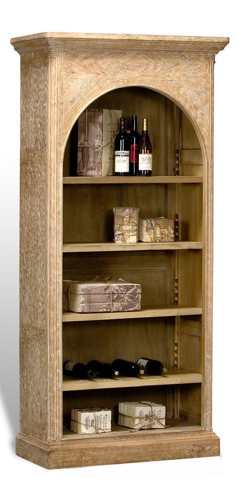 Bookcase Arched Top Mango Wood Wash Finish 3 Shelves Adjust New
