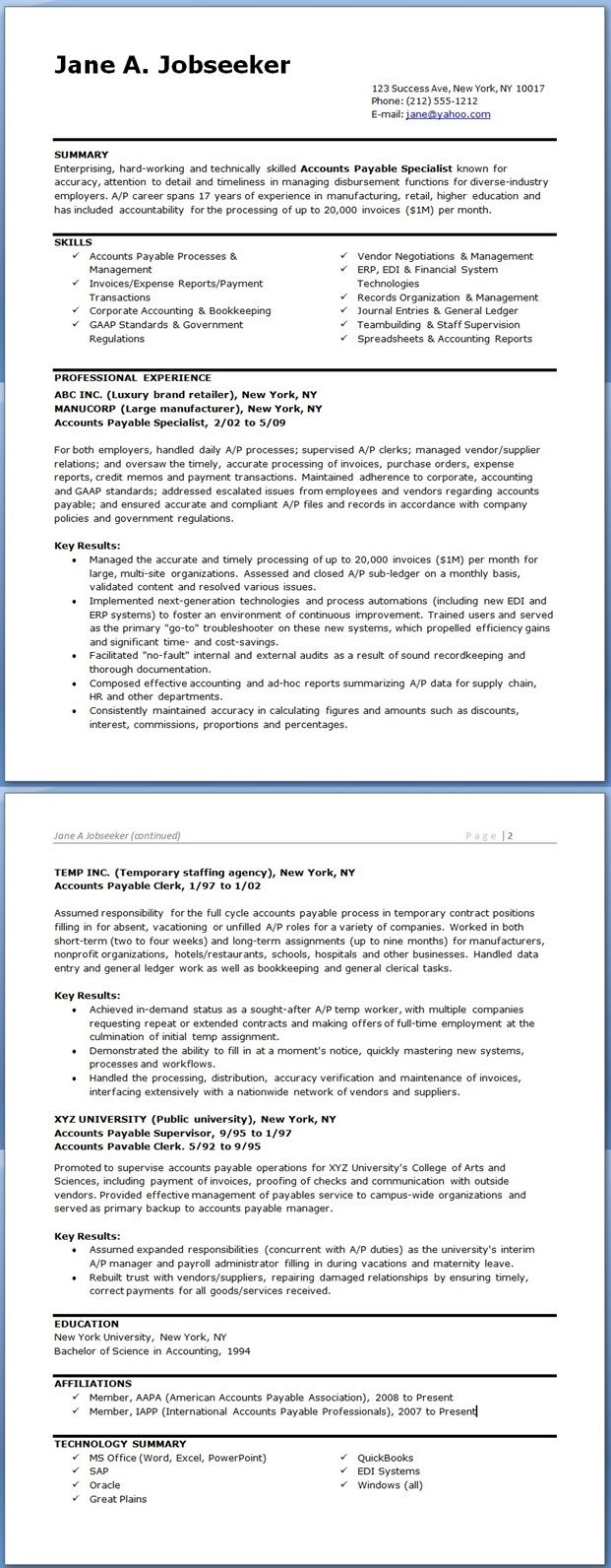 Accounts Payable Specialist Resume Templates Resume Downloads Accounts Payable Accounting Professional Resume Examples