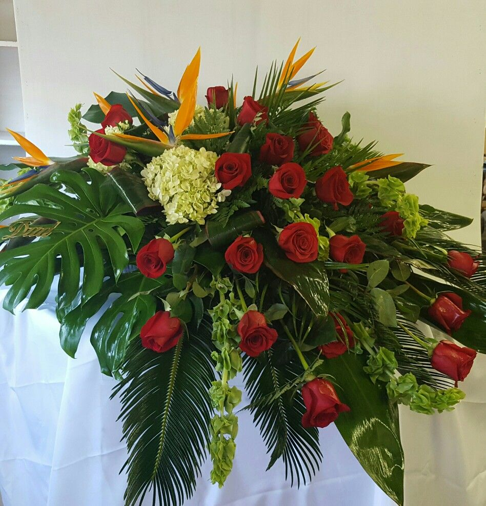 Bird of paradise and red rose casket spray with elegant greens funeral flowers bird of paradise and red rose casket spray with elegant greens dhlflorist Image collections