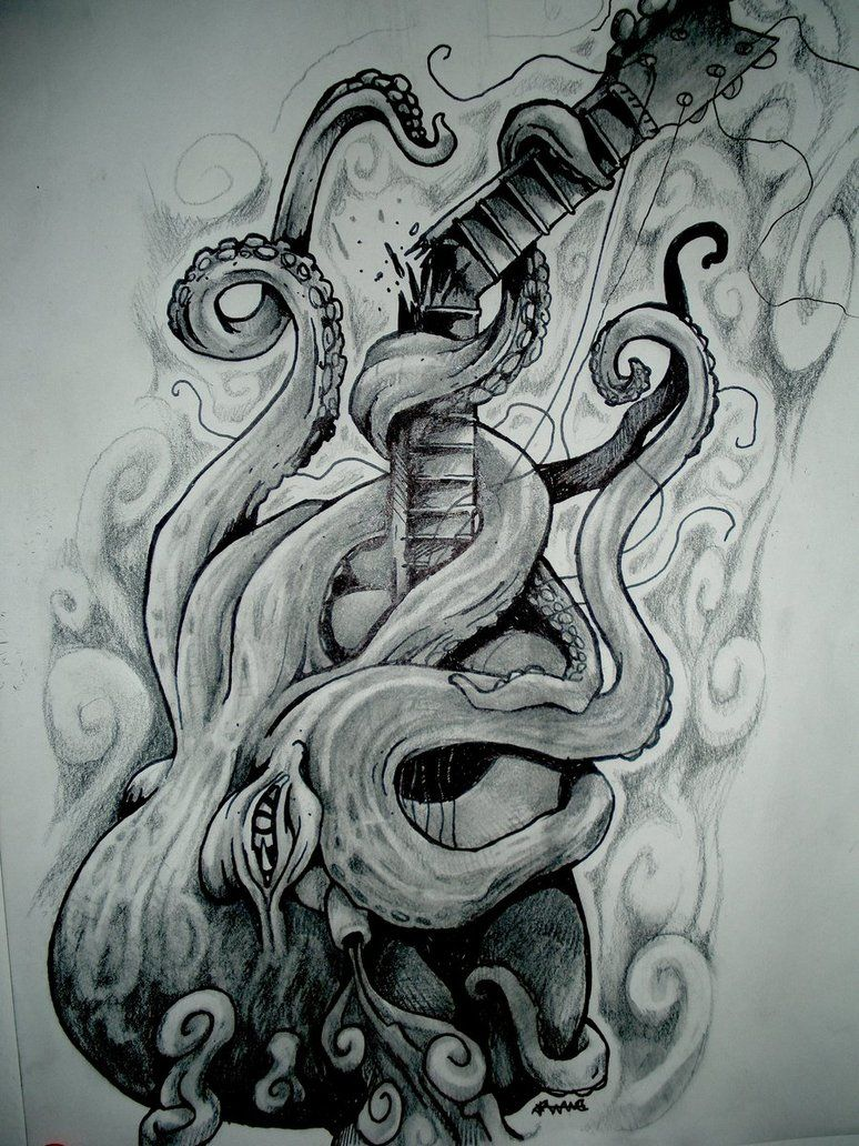 Hippie Pencil Drawings Tumblr octopus breaking a guitar by
