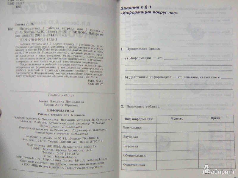 Учебник по информатике 5 класс босова читать онлайн.