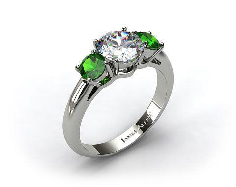 I love this!!! 18k White Gold Three Stone Round Emerald Engagement Ring