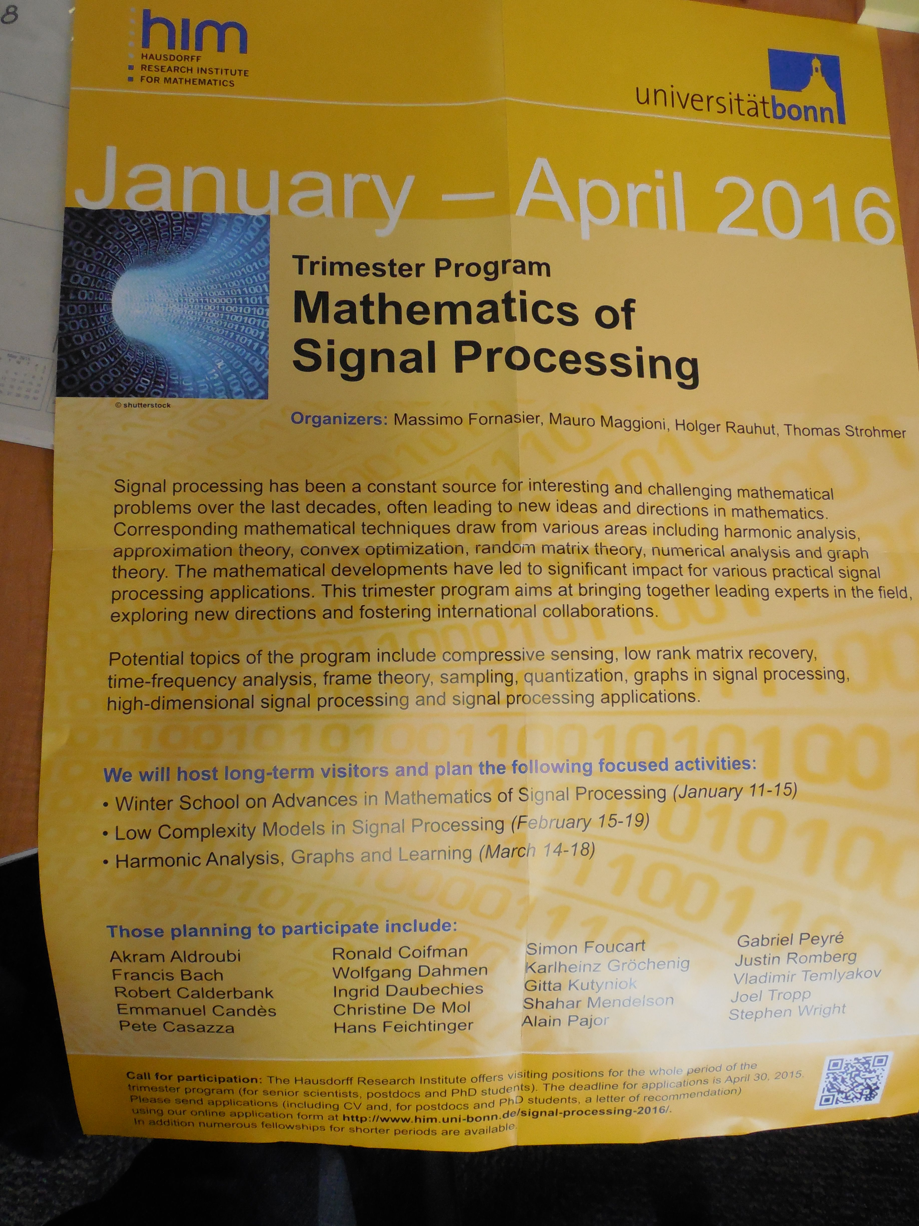 Trimester Program Of Mathematics Of Signal Processing At The