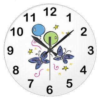 Butterflies Balloons Girly Wall Clock