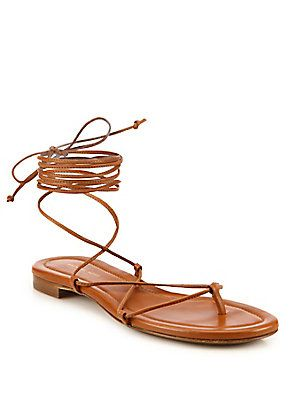 72399d64fa18 Michael Kors Collection Bradshaw Lace-Up Leather Sandals Metallic Leather