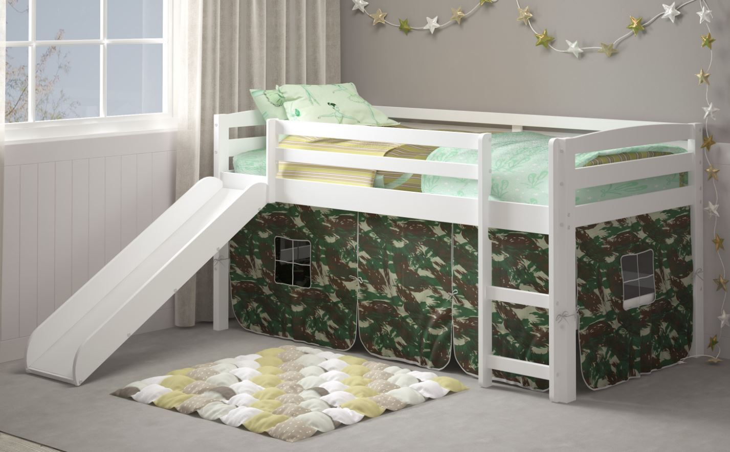 Danny Camo Tent Loft Bed W Slide Ladder Chelsea Home Furniture 36st 4700 Wh C In 2020 Bed With Slide Bed Furniture