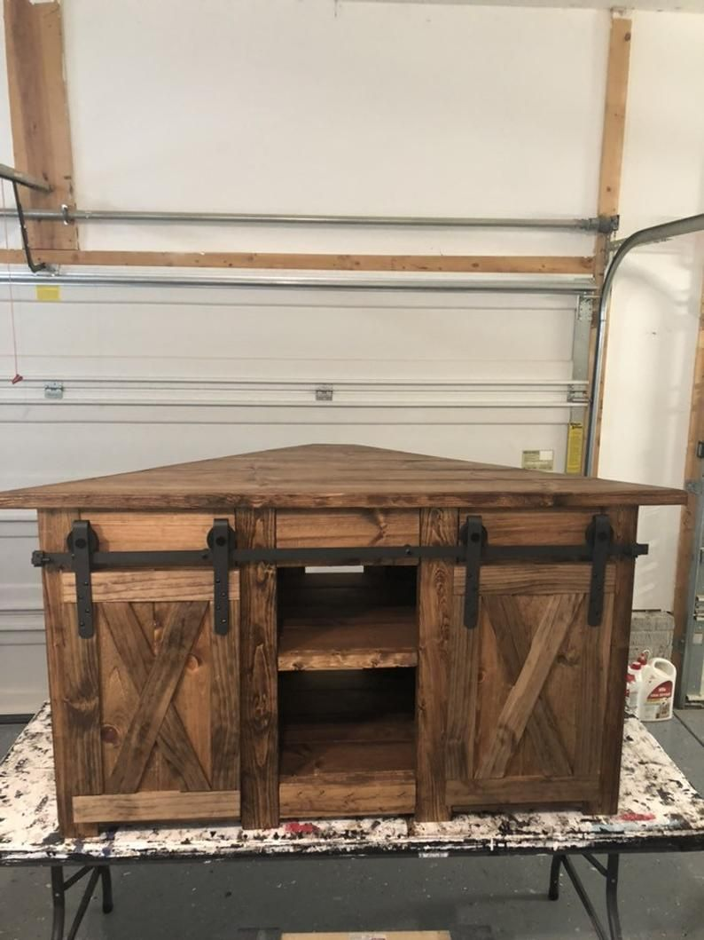 Corner TV STAND / Farmhouse style corner unit with barn