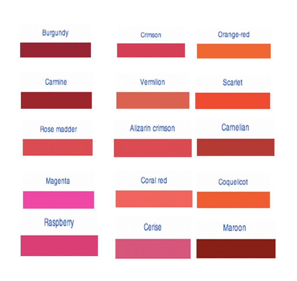 Different Shades Of Red red shade | shades of red | dark brown hairs | colors made in