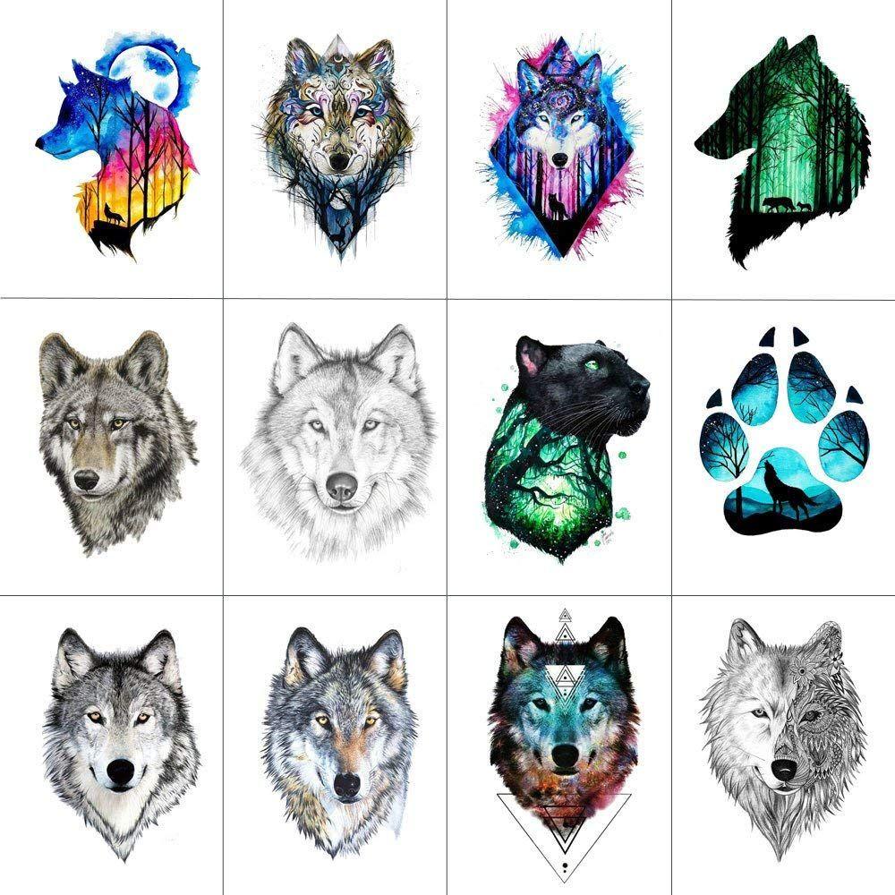 Amazon Com Wyuen 12 Pcs Lot Wolf Temporary Tattoo Sticker For Women Men Fashion Body Art Adults Waterproof Hand Fake Tatoo 9 Tatuaze Pomysly Na Tatuaz Rysunki