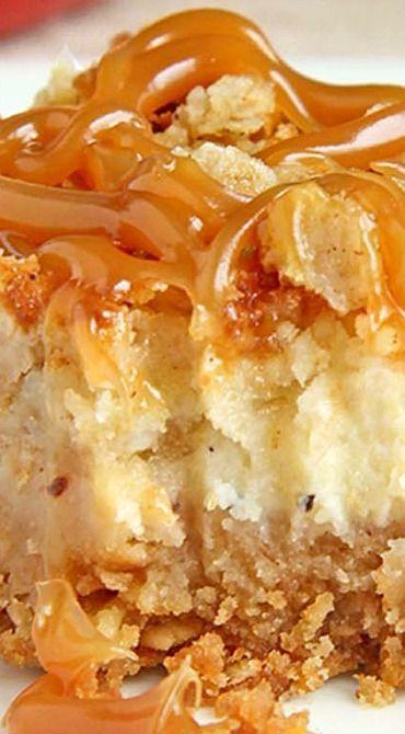 Caramel Apple Crisp Cheesecake Bars - Sugar Apron