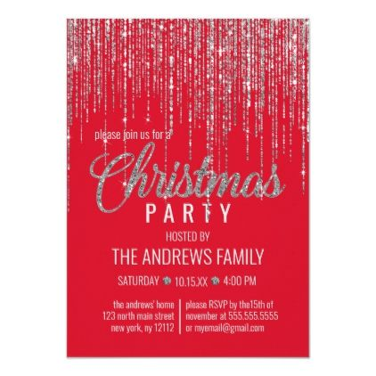 Chic Red Silver Glitter Fringe Curtain Christmas Invitation | Zazzle.com #curtainfringe