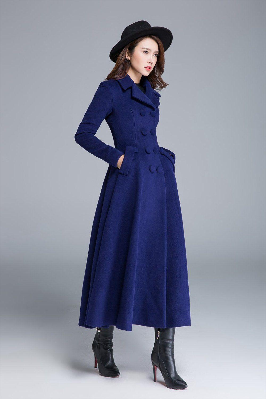 Long wool coat, blue coat, wool coat, winter coat, pleated