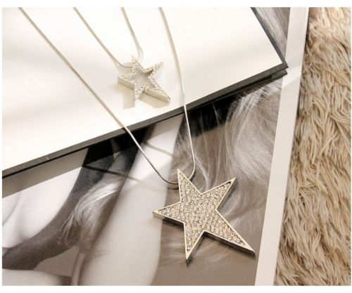 Charm-Gifts-Double-layered-Star-Tibetan-Silver-Pendant-Chain-Necklace-Jewellry