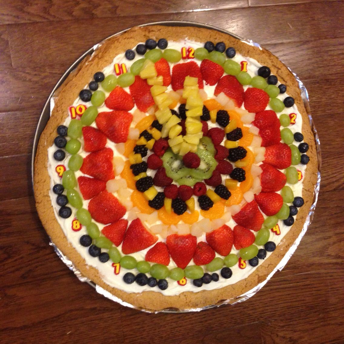 New Year's Eve Countdown to Midnight Fruit Pizza Clock