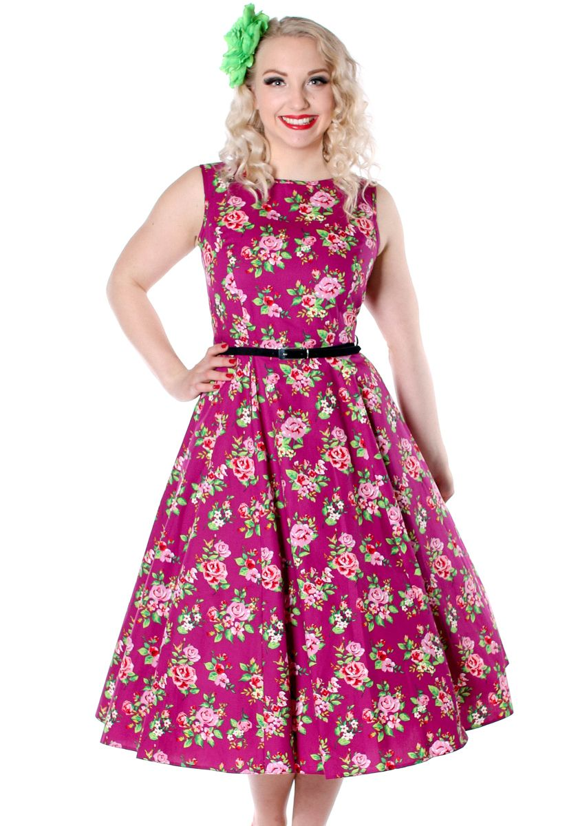 Damson Berry Floral Hepburn by Lady Vintage  #vintage #circledress #floraldress…