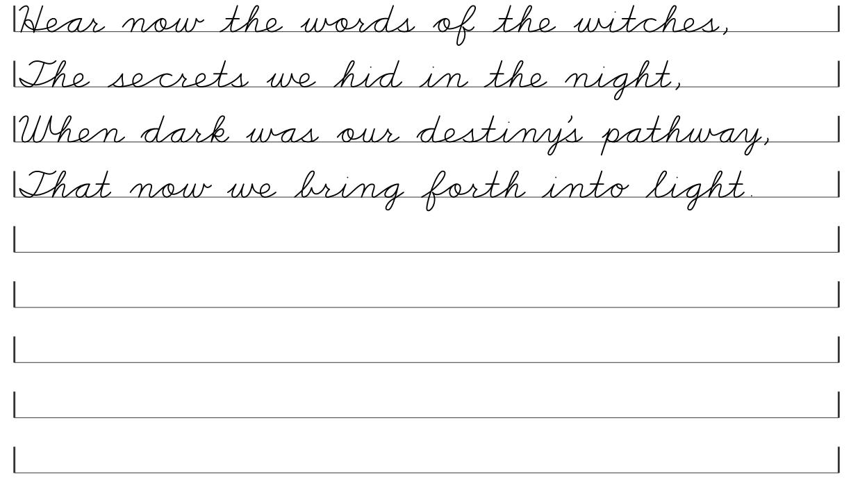 Witch S Creed Poem Cursive Printables For Pagans Cursive Handwriting Practice Cursive Lettering Alphabet