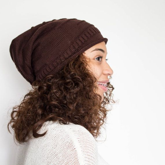 Brown Satin Lined Beanie Slouchy Beanie Natural by TagMeTrendy ... 90d03a0a45f